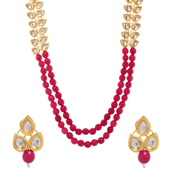 Red Plain Wedding Necklace Sets