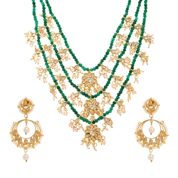 Green Plain Party Necklace Sets