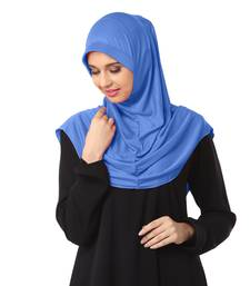 blue plain poly cotton hijab