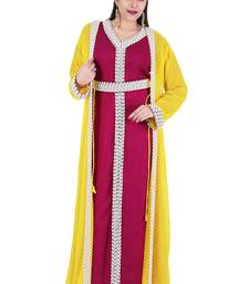Magenta And Yellow Georgette Islamic Kaftan With Zari And Stone Work