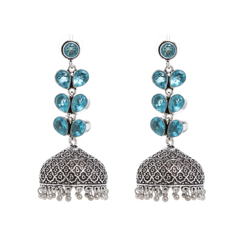 Blue Plain Bridal Danglers Drops