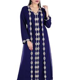 Navy blue georgette islamic kaftan with zari and stone work