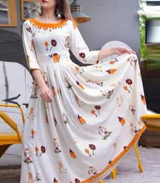White Printed Crepe Stitched Kurtis