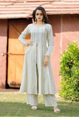 White printed cotton  long-kurtis