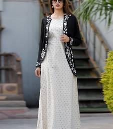 white embroidered cotton long-kurtis