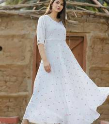 White Embroidered Rayon stitched kurtis