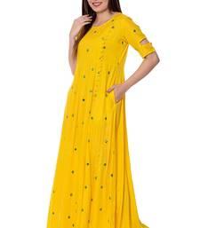 Yellow Embroidered Rayon stitched kurtis