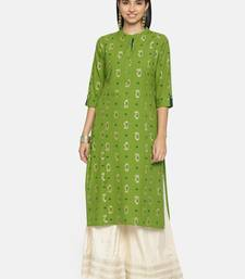 Green printed cotton ethnic kurtis
