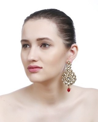 Gold Bridal Kundan Danglers Drops