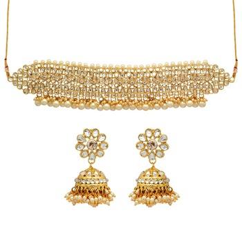 white kundan wedding necklace-sets