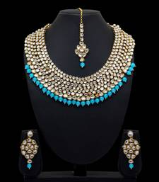 turquoise kundan wedding necklace-sets