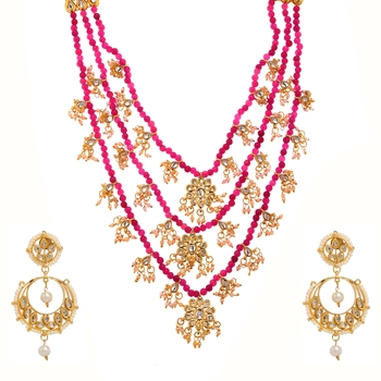 Pink Plain Bridal Necklace Sets
