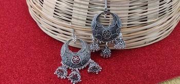 silver crystal jhumkas