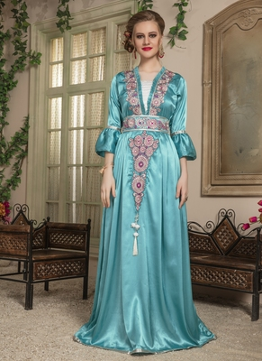 Green embroidered crepe islamic-kaftans