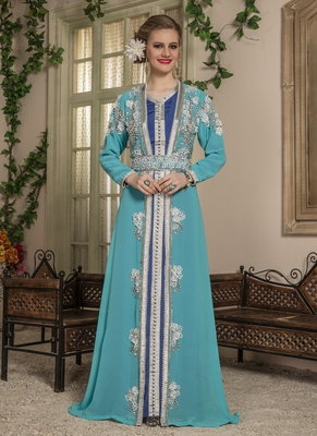 Blue Embroidered Georgette Islamic Kaftans
