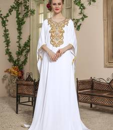 White embroidered rayon islamic-kaftans