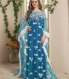 Blue Embroidered Crepe Islamic Kaftans