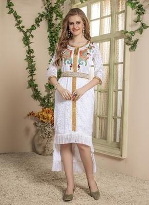 White embroidered silk blend islamic-kaftans