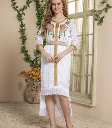 White Embroidered Silk Blend Islamic Kaftans