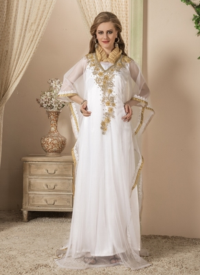 White Embroidered Silk Blend Islamic Kaftans