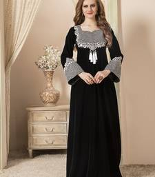 Black embroidered velvet islamic-kaftans