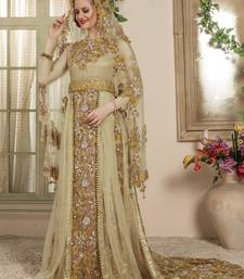 Beige Embroidered Crepe Muslim Wedding Dress