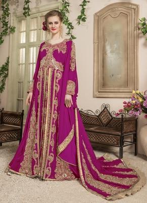 Pink Embroidered Velvet Moroccan Muslim Wedding Dress
