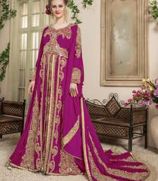 Pink Embroidered Velvet Moroccan Muslim Wedding Dress