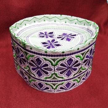 Purple embroidered islamic cap