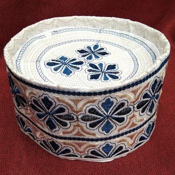 blue and beige islamic cap