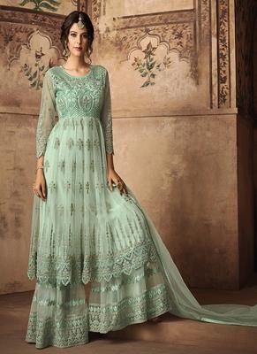 Sea-green embroidered net semi stitched salwar with dupatta