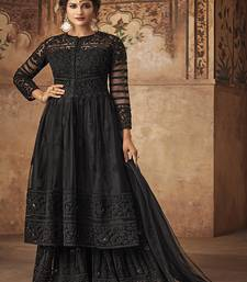 Black embroidered net semi stitched salwar with dupatta