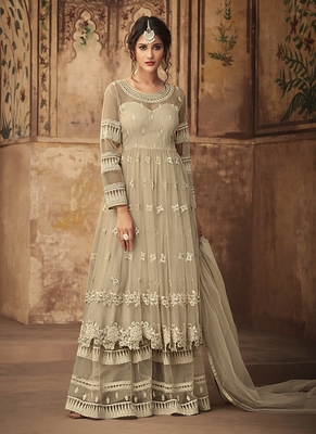Off-white embroidered net semi stitched salwar with dupatta
