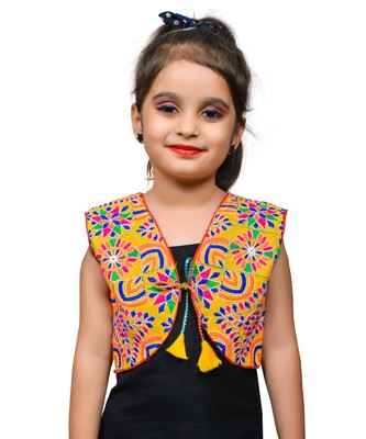 Yellow thread work blended cotton girls jackets coats