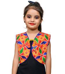 Red thread work blended cotton girls jackets coats