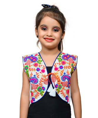 White thread work blended cotton girls jackets coats