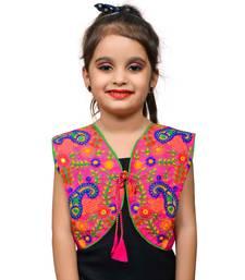 Pink thread work blended cotton girls jackets coats