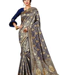 Dark blue woven banarasi silk saree with blouse