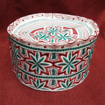 orange embroidered muslim prayer cap