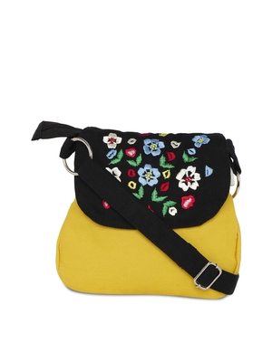 Yellow sling bag with embroidery
