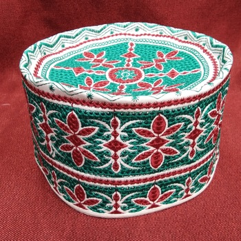 Green and red flower embroidered islamic crown cap