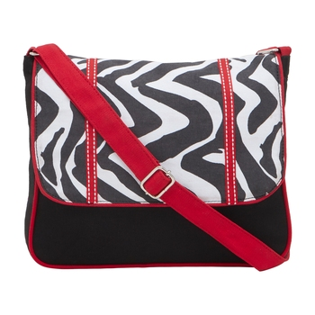 Black Canvas Sling with zig zag print