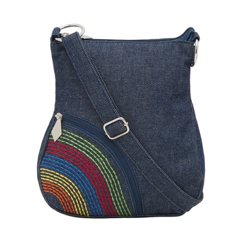 Blue denim women's sling bag with side embroidery