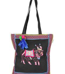 Pick Pocket black canvas tote bag with funky ethnic