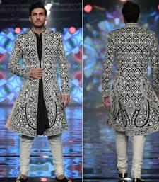 Black embroidered silk sherwani