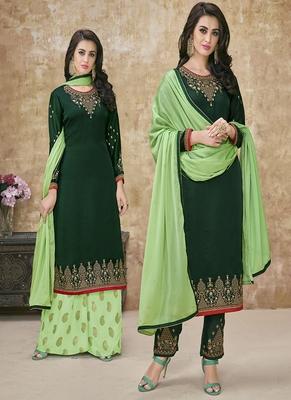 Dark-green embroidered satin semi stitched salwar with dupatta