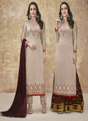 Beige embroidered satin semi stitched salwar with dupatta