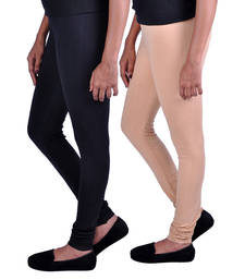 Buy Combo Pack of 2 Cotton , Lycra Leggings- Black & Beige legging online