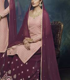 Baby-pink embroidered georgette semi stitched salwar with dupatta