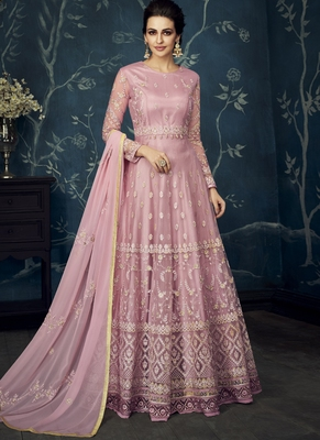 Lilac embroidered georgette anarkali